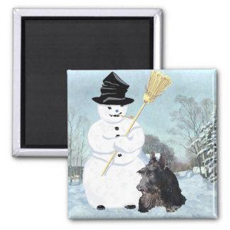 Escocés feliz Terrier y muñeco de nieve Imán Cuadrado