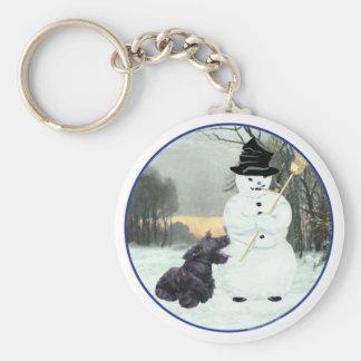 Escocés feliz Terrier y muñeco de nieve Llavero Redondo Tipo Pin