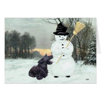 Escocés feliz Terrier y muñeco de nieve Tarjeta De Felicitación