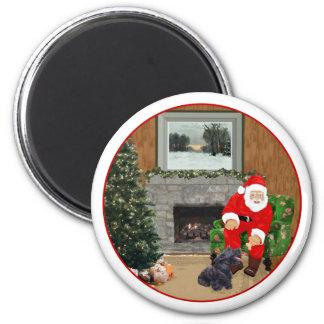 Escocés feliz Terrier y Santa Imán Redondo 5 Cm