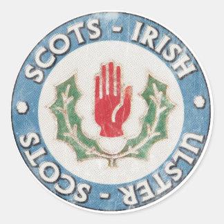 Escocés-Irlandés/Ulster-Escocés (diseño apenado) Pegatina Redonda