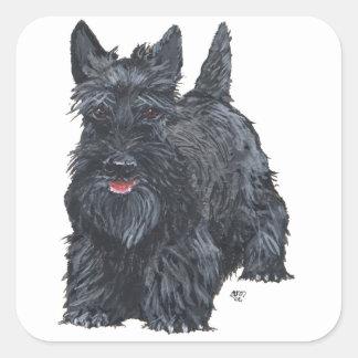 Escocés juguetón Terrier Pegatina Cuadrada