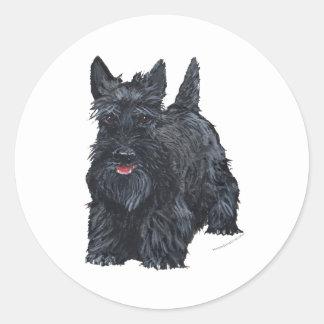 Escocés juguetón Terrier Pegatina Redonda