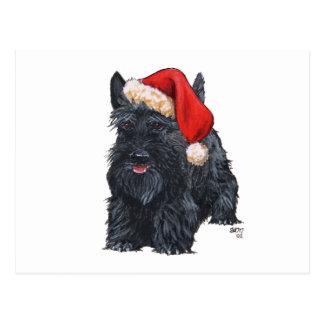 Escocés juguetón Terrier Santa Tarjetas Postales
