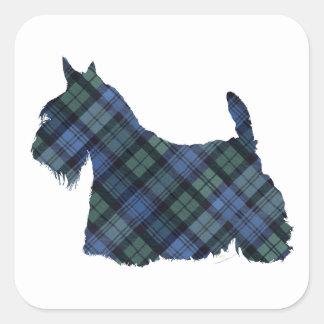 Escocés negro Terrier del tartán del reloj Pegatinas Cuadradases