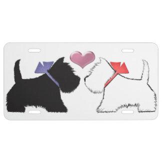 Escocés negro y placa blanca del perro de Westie Placa De Matrícula