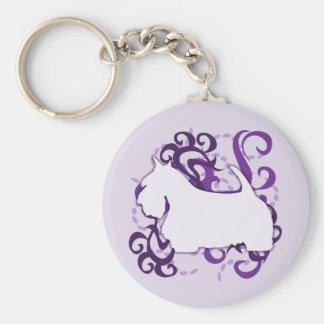 Escocés púrpura Terrier del remolino Llaveros Personalizados