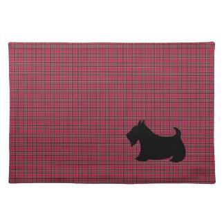 Escocés rojo Terrier Placemat de la tela escocesa Manteles