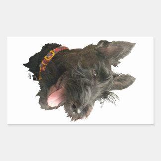 Escocés sonriente Terrier Pegatina Rectangular