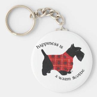 Escocés suéter rojo y negro de Terrier de la tela  Llavero Redondo Tipo Pin