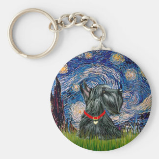 Escocés Terrier 12c - noche estrellada Llavero Personalizado