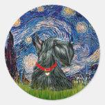Escocés Terrier 12c - noche estrellada Pegatina Redonda