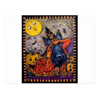 Escocés Terrier de Halloween Tarjeta Postal