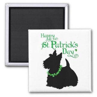 Escocés Terrier del día de St Patrick Imán Cuadrado