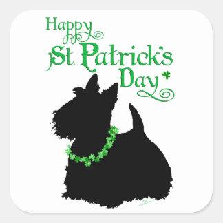 Escocés Terrier del día de St Patrick Pegatina Cuadrada