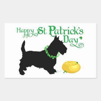 Escocés Terrier del día de St Patrick Pegatina Rectangular