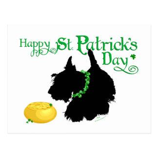 Escocés Terrier del día de St Patrick Tarjeta Postal
