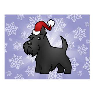 Escocés Terrier del navidad Tarjeta Postal