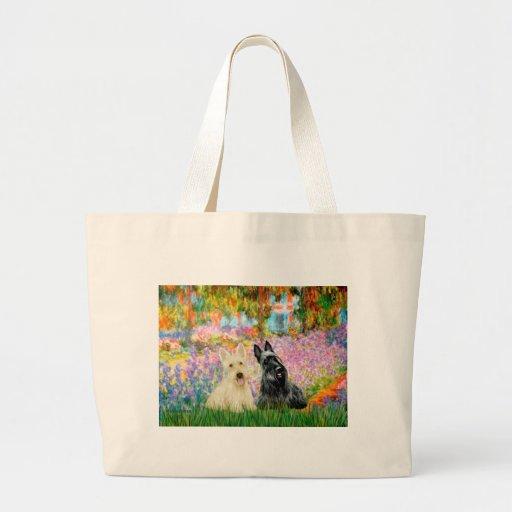 Escocés Terrier (dos BW) - jardín Bolsa Tela Grande