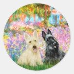 Escocés Terrier (dos BW) - jardín Etiqueta Redonda