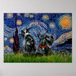 Escocés Terrier (dos negro) - noche estrellada Impresiones
