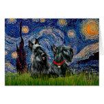 Escocés Terrier (dos negro) - noche estrellada Felicitación