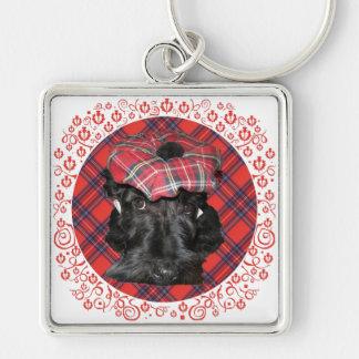 Escocés Terrier en el tartán Llaveros Personalizados