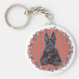 Escocés Terrier en el tartán Llavero Redondo Tipo Pin