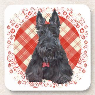 Escocés Terrier en el tartán Posavaso