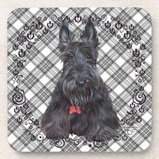 Escocés Terrier en el tartán Posavasos
