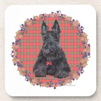 Escocés Terrier en el tartán Posavasos De Bebida