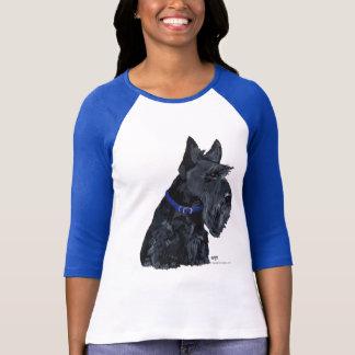 Escocés Terrier en un cuello azul Playera