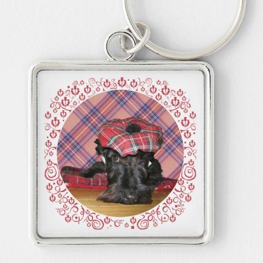 Escocés Terrier en un Tam-o-Shanter Llavero