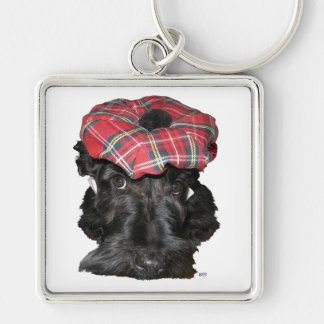 Escocés Terrier en un Tam-o-Shanter Llavero Cuadrado Plateado