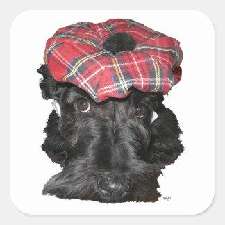 Escocés Terrier en un Tam-o-Shanter Pegatina Cuadrada