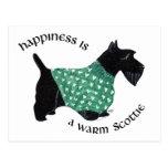 Escocés Terrier - suéter verde del corazón Tarjeta Postal