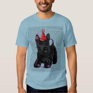 Escocés Terrier y gorra del fiesta Poleras