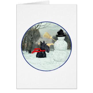 Escocés Terrier y muñeco de nieve Tarjeta De Felicitación