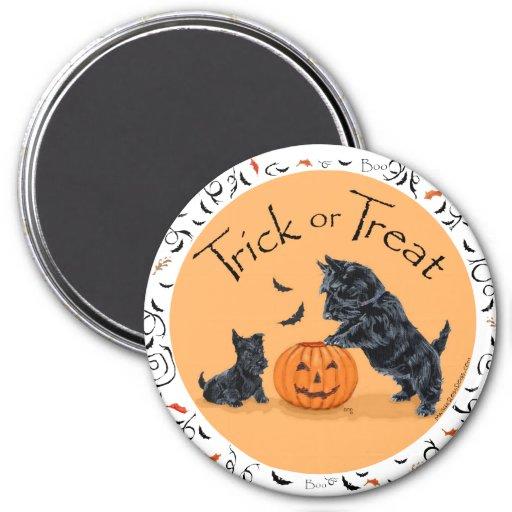Escocés Terrier y perrito Halloween Imán Redondo 7 Cm