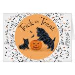 Escocés Terrier y perrito Halloween Tarjetón