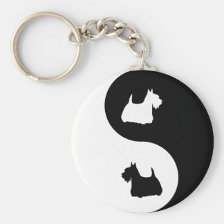 Escocés Terrier Yin Yang Llaveros Personalizados