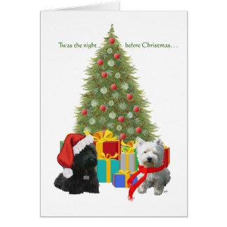 Escocés y árbol de navidad de Westie Felicitacion