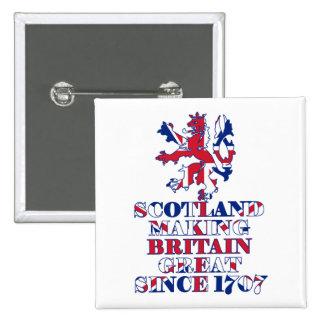 Escocés y británico orgullosos pin cuadrado