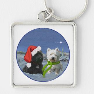 Escocés y estrella del navidad de Westie Llaveros Personalizados