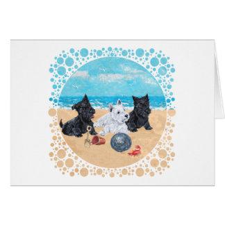 Escocés y perritos de Westie en la playa Tarjeta De Felicitación