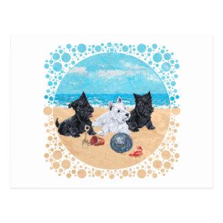 Escocés y perritos de Westie en la playa Tarjetas Postales