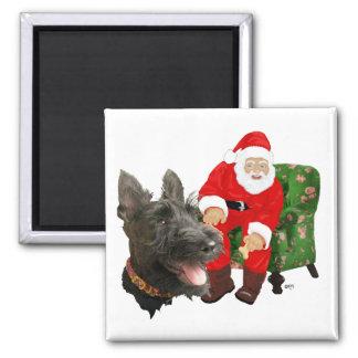Escocés y Santa felices Imán Cuadrado