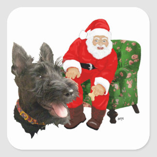 Escocés y Santa felices Pegatina Cuadrada