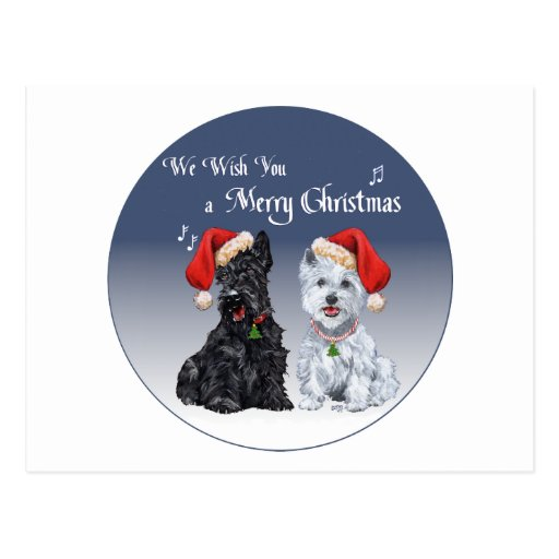 Escocés y villancicos del navidad de Westie Postal