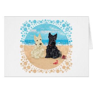 Escoceses de trigo y negros en la playa tarjeta de felicitación